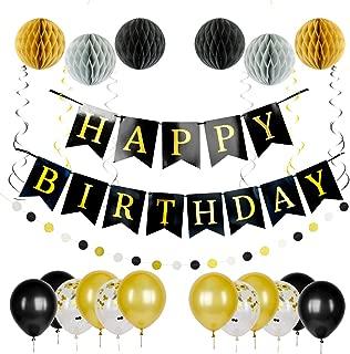 Birthday Decorations | Happy Birthday Banner Pack | Party set includes Happy Birthday Balloons, Birthday Banner, Swirls, Pom Poms, Dot Garland | Black and Gold Party Decorations Set for Men and Women