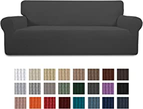 Easy-Going Stretch Sofa Slipcover 1-Piece Couch Sofa Cover Furniture Protector Soft with Elastic Bottom for Kids,Pet. Spandex Jacquard Fabric Small Checks(Sofa,Dark Gray)