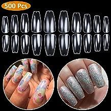 Fake Nails Coffin Nails - Short Ballerina Nails Clear Full Cover Nail BTArtbox 500 Pcs Acrylic False Nail Tips, 10 Sizes