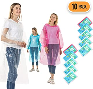 Rain Ponchos for Adults Disposable – 10 Pack Bulk Extra Thick Emergency Waterproof..