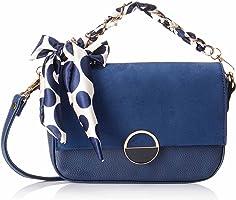 Club Aldo Faux Leather Polka-Dot Pattern Tie Flap-Front Crossbody Bag for Women - Navy