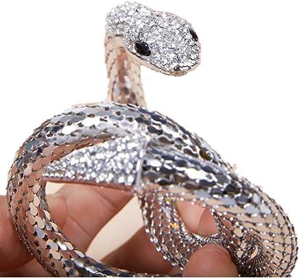 2017 Cool Girl's Punk Crystal Flexible Silver Mesh Snake Bracelet Slinky Snake Dance Bangle Bracelet Arm Accessory Best Gift