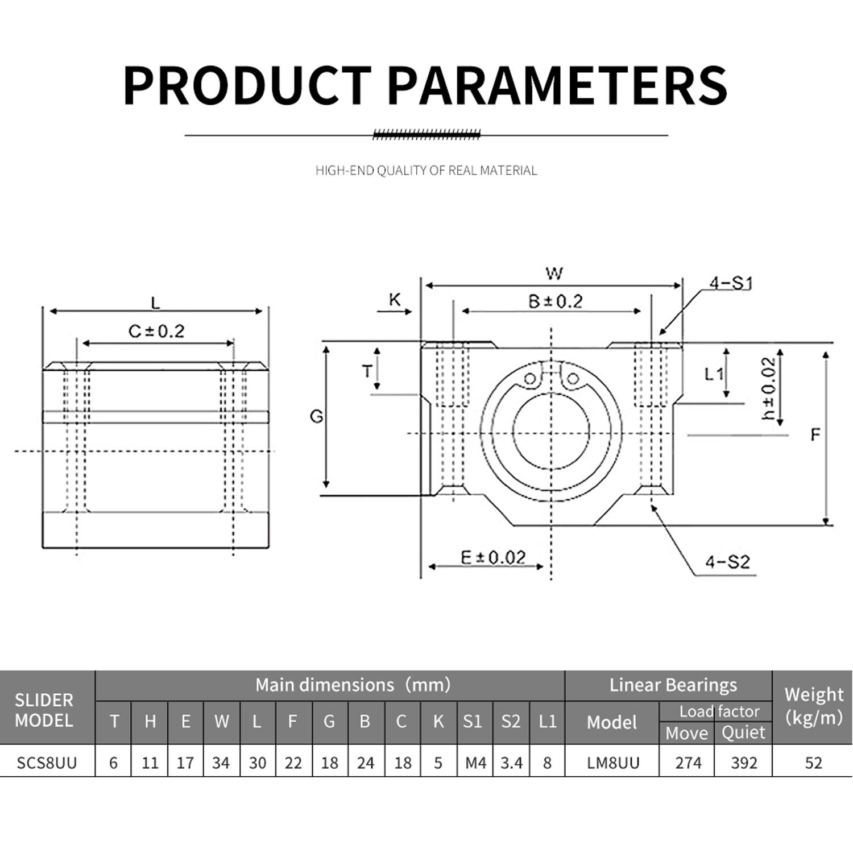 Usongshine 4 Pcs SCS8UU Linear Bearing Slider Optical Axis Bearing Slide Bushing for CNC