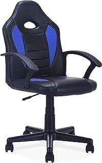 You, Silla Gamer, Silla de Escritorio, Despacho o Oficina, Acabado en Símil Piel Color Negro y Azul, Medidas: 60 cm (Ancho) x 95-105 cm (Alto) x 60 cm (Fondo)