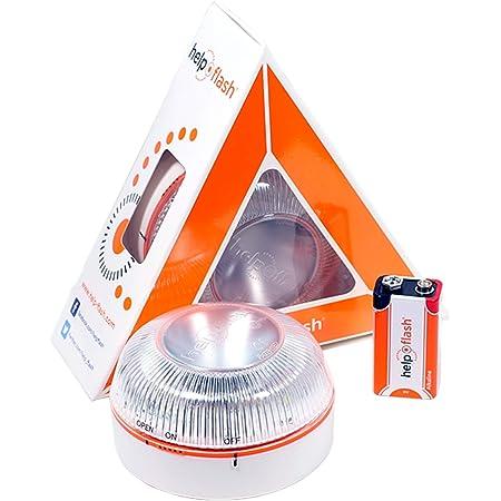 HELP FLASH HFAA-01 Estandar Luz de Emergencia Autónoma Señal V16 de Preseñalización de Peligro, Homologada, Autorizada por la DGT, Blanco