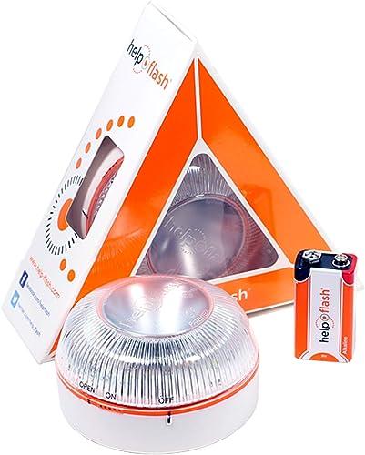 HELP FLASH HFAA-01 Estandar Luz de Emergencia Autónoma Señal V16 de Preseñalización de Peligro, Homologada, Autorizad...