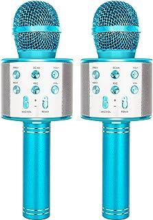 میکروفون بی سیم بلوتوث کارائوکه YONHAN 2 بسته ، ضبط کننده پخش کننده موسیقی بلندگوی میکروفن دستی قابل حمل برای کریسمس ، تولد ، مهمانی خانگی بیشتر - آبی