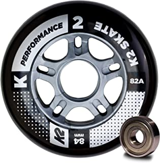 K2 Skate Performance 82A 8 Wheel Pack with ILQ 7 Bearings, 84mm,