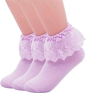 SEMOHOLLI Women Ankle Socks, Princess Socks, Lace Socks, Lace Ruffle Frilly Comfortable No-Show Cotton Socks