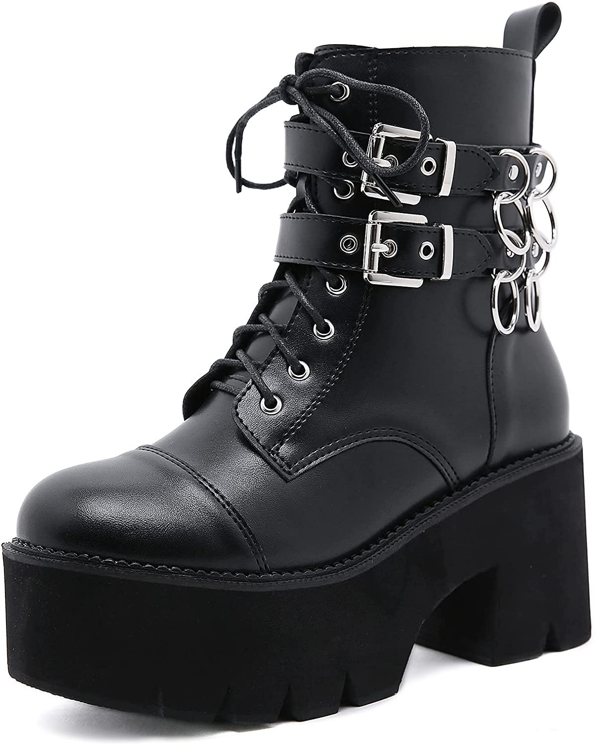 Ranking TOP17 CYNLLIO Women's At the price Black Gothic Platform Strap Buckle Boots Double