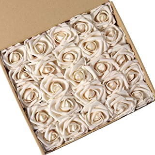 N&T NIETING Artificial Flowers Roses, 25pcs Real Touch Artificial Foam Roses Decoration DIY for Wedding Bridesmaid Bridal Bouquets Centerpieces, Party Decoration, Home Display (Cream)