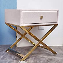 Stainless Steel Bedside Table, Leather Art Solid Wood Pumping Storage Side Cabinet Bedroom Side Table,Yellow