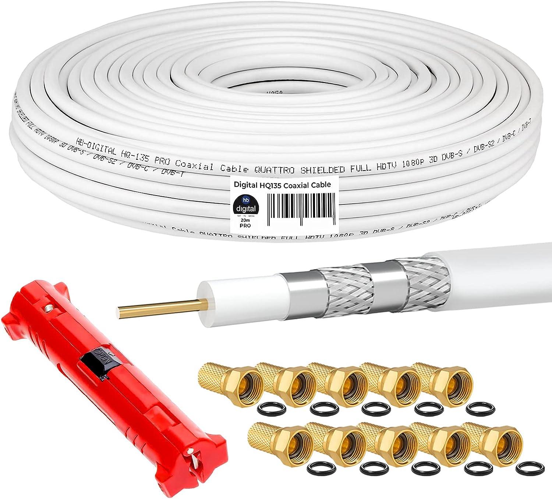 HB-DIGITAL HQ-135 PRO 20m Cable coaxial SAT de 135dB 4 veces apantallado incl. stripper y 10 conectores F chapados en oro Cable de antena DVB-S / S2 / S2X DVB-C y DVB-T / T2 UHD 4K Full HD 3D