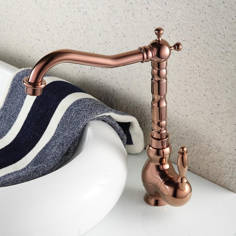 pink gold Faucet, Retro wash Basin Faucet, Green Bathroom hot and Cold Mixed Faucet