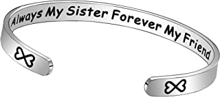 JQFEN Sister Bracelet Jewelry Always My Sister Forever My Friend Opening Bangles Friend Gift