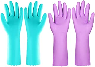 Reusable Dishwashing Cleaning Gloves with Latex free, Cotton lining,Kitchen Gloves 2 Pairs (Purple+Blue, Medium)