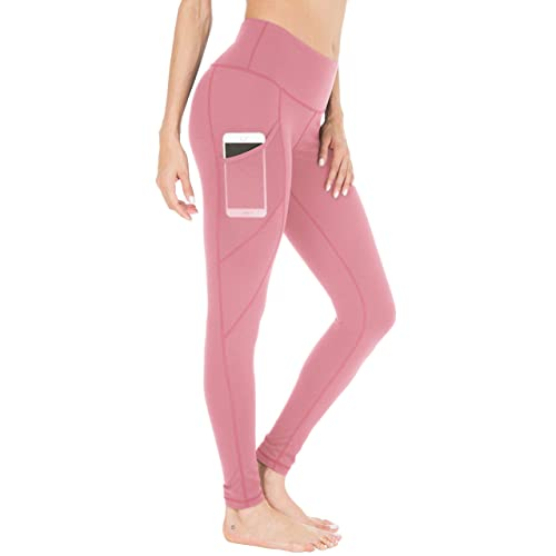 ee055980ffa425 Queenie Ke Women Yoga Leggings Power Flex Mesh Mid-Waist 3 Phone Pocket Gym  Running