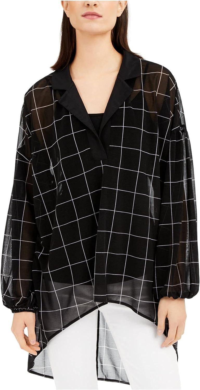 Alfani Women's Blouse Medium Sheer Hi-Low Split-Neck Tunic Black M