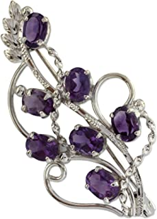 Amethyst .925 Sterling Silver Floral Brooch 'Lilac Story'