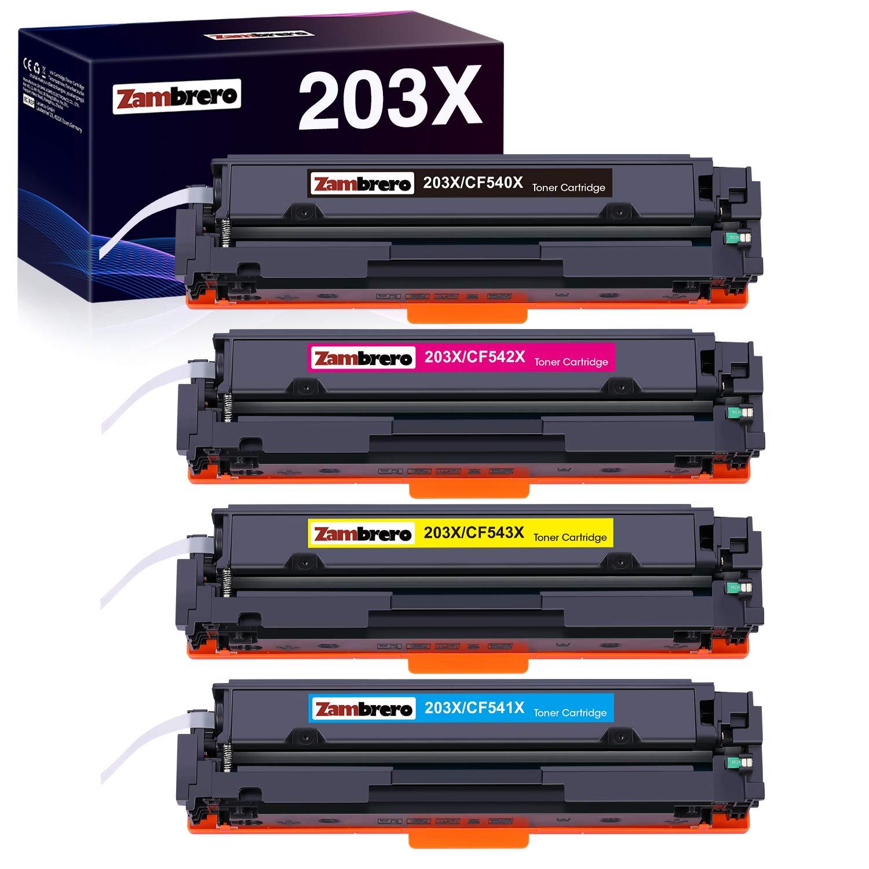 Zambrero CF540X 203X Replacement HP 203X 203A CF540X CF540A Black Toner Cartridges for HP Color Laserjet Pro MFP-M281fdw M281fdn M280nw M281cdw, HP Color Laser jet Pro M254dw M254nw M254dn (4 Packs)