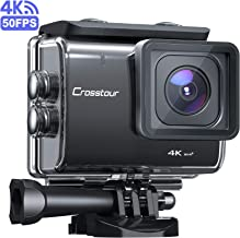 Crosstour CT9500 Native 4K50FPS Action Camera 20MP WiFi Underwater Camera (40M Waterproof, EIS, Adjustable View Angle, Two 1350mAh Batteries and Mounting Accessories Kit)