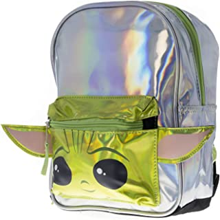 """Star Wars""""The Child"""" Baby Yoda 10"""" Backpack with Foil & Shaped Ears in Shiny Material"""