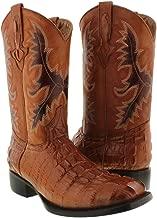 El Presidente - Men's Crocodile Cognac Tail Cut Western Cowboy Boots Square 8.5 E US