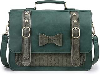 ECOSUSI Women Vintage PU Leather Messenger Shoulder Satchel Bag, Green
