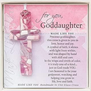 For You, Goddaughter Pink Mosaic Handmade Glass Cross