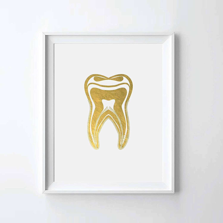 Popular overseas Human Tooth II Gold Foil Max 50% OFF Art Anatomy Print