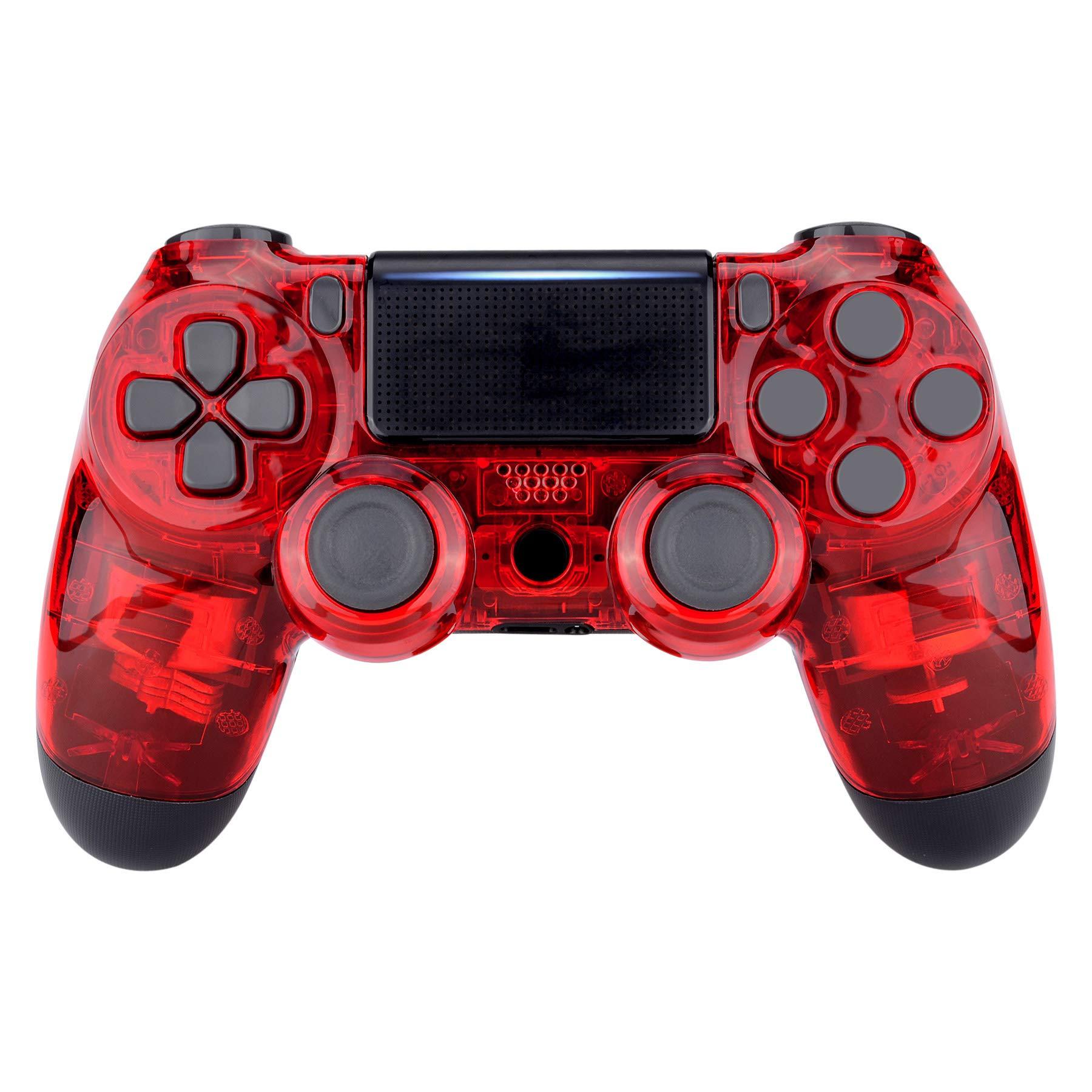 eXtremeRate Carcasa PS4 Funda Delantera Protectora de la Placa Frontal Cubierta reemplazable para Mando de Playstation 4 PS4 Slim Pro (CUH-ZCT2 JDM-040 JDM-050 JDM-055) Transparente Cristal Rojo: Amazon.es: Electrónica