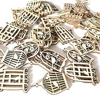 50 Pcs Cages À Oiseaux En Bois Artisanats À Coudre Scrapbooking Décorations BRICOLAGE Artisanat Du Bois Embellissements po...