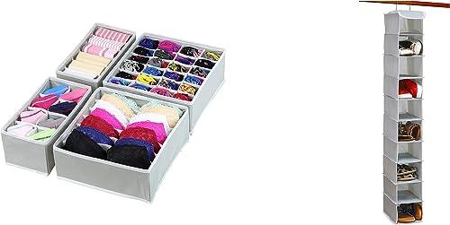 wholesale Simple Houseware Closet Underwear Organizer Drawer Divider 4 discount Set + 10 Shelves Hanging Shoes lowest Organizer sale