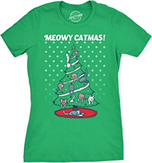 Womens Meowy Christmas Cat Tree Ugly Christmas Sweater T Shirt Green
