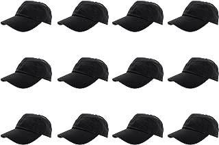 Baseball Caps 100% Cotton Plain Blank Adjustable Size Wholesale LOT 12 Pack