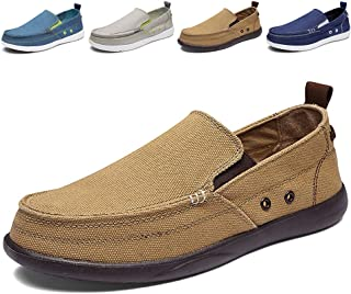 7454f52a77d14 Men s Slip on Deck Shoes Loafers Canvas Boat Shoe Non Slip Casual Loafer  Flat Outdoor Sneakers
