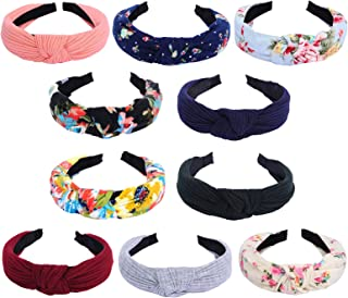 10 Packs Wide Headbands for Women Girls, Fashion Knot Turban Hairbands Cross Knot Headband Hair Accessories