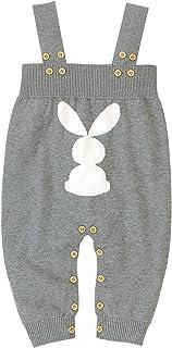 puseky Trajes de Pascua para bebé, recién nacido, mameluco con patrón de conejo, mono de tiras para niños de 0 a 18 m