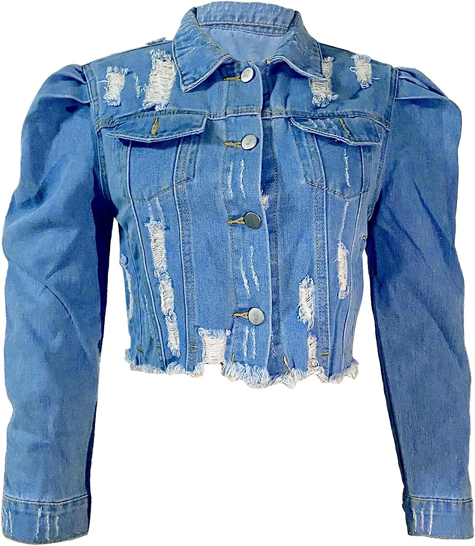 Women Jean Jacket Cropped Ripped Long Sleeve Denim Jacket Tops for Fall Casual Y2K Streetwear