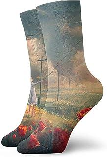 tyui7, Chica volando una cometa en un campo de flores Calcetines de compresión antideslizantes Calcetines deportivos acogedores de 30 cm para hombres, mujeres y niños