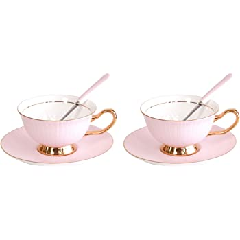 Coffee cup Set Of 2 Coffee Cups & Saucers Sets With Spoons