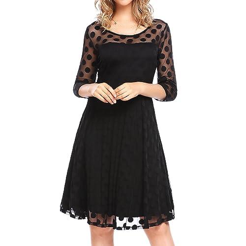 848acb1d4f8 BEAUTYTALK Women s Mesh Polka Dot 3 4 Sleeves Pleated Midi Dress