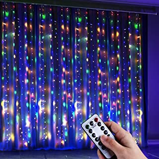 Anpro 4 Color Window Curtain String Light, Warm White & Multicolor 320LED Fairy Starry Lights USB Powered Remote & Timer W...