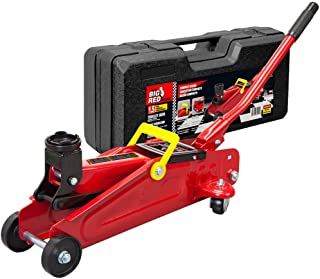 BIG RED T820014S Torin Hydraulic Trolley Service/Floor Jack with Blow Mold Carrying Storage Case, 1.5 Ton (3,000 lb) Capacity, Red