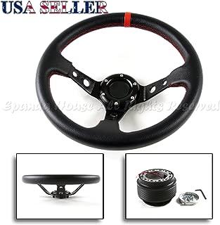 X AUTOHAUX Black Kit 6 Hole Bolt Steering Wheel Hub Adapter for Honda Civic 96-00