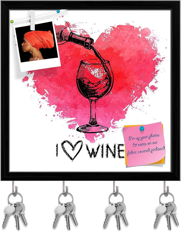 Artzfolio Wine with Splash Watercolor Heart Key Holder Hooks   Notice Pin Board   Black Frame 20 X 20Inch