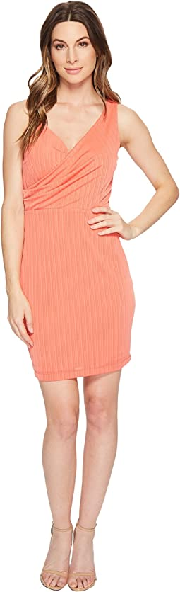 Stephanie - Crinkle Knit Faux Wrap Dress