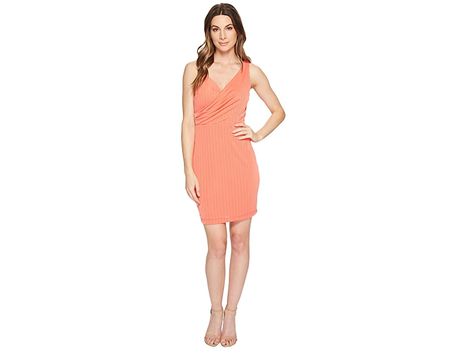 CeCe Stephanie Crinkle Knit Faux Wrap Dress (Coral Bloom) Women