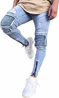 Minetom Uomo Jeans Pantaloni Cuciture Fit Distrutto Pantaloni Denim alla Moda con Cerniera Skinny Pants Jeans Strappati