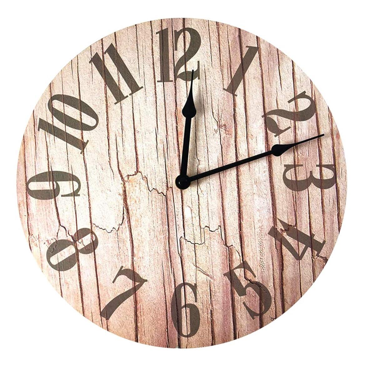 モニターありがたい移行する木目パターン時計ウォールマウントウッドヴィンテージスタイルクォーツ時計ハングオーナメント木製色リビングルームまたは寝室オフィスなどに適した30センチ